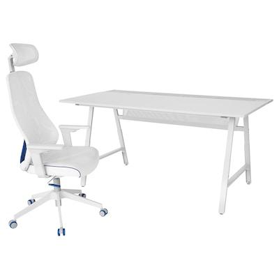 UTESPELARE / MATCHSPEL Gaming desk and chair, light grey/white