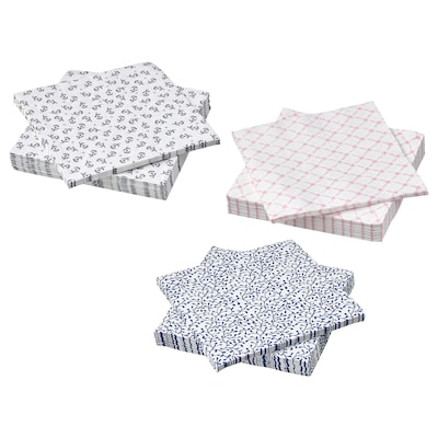VÄLSKÖTT Paper napkin, assorted colours, 33x33 cm