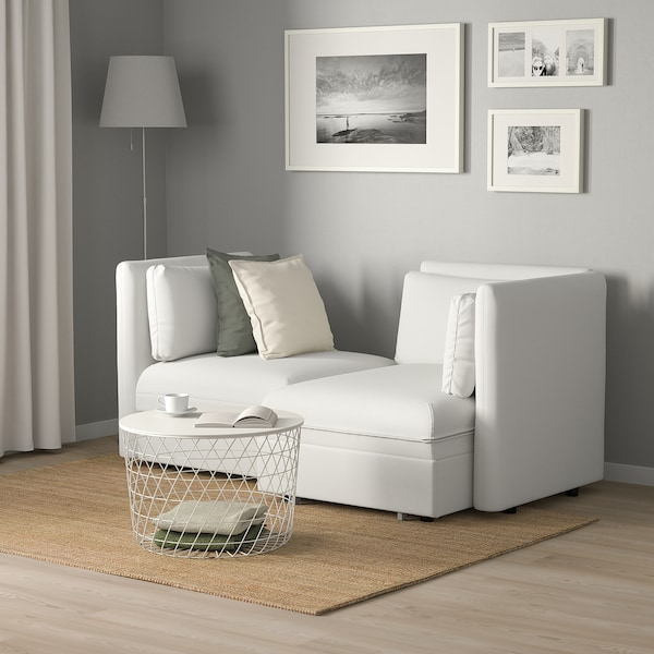 VALLENTUNA 2-seat modular sofa with sofa-bed, and storage/Murum white