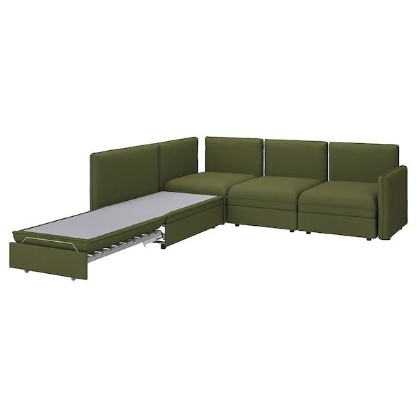 VALLENTUNA Modular corner sofa 3-seat+sofa-bed, and storage/Orrsta olive-green