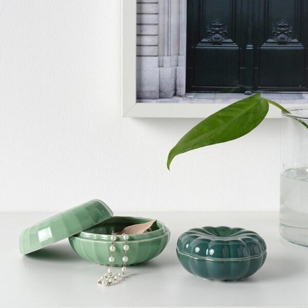 VANLIGEN decoration box, set of 2 dark green