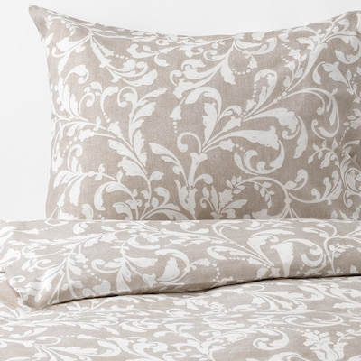 VÅRBRÄCKA quilt cover and 2 pillowcases beige/white 104 /inch² 2 pack 220 cm 240 cm 50 cm 80 cm
