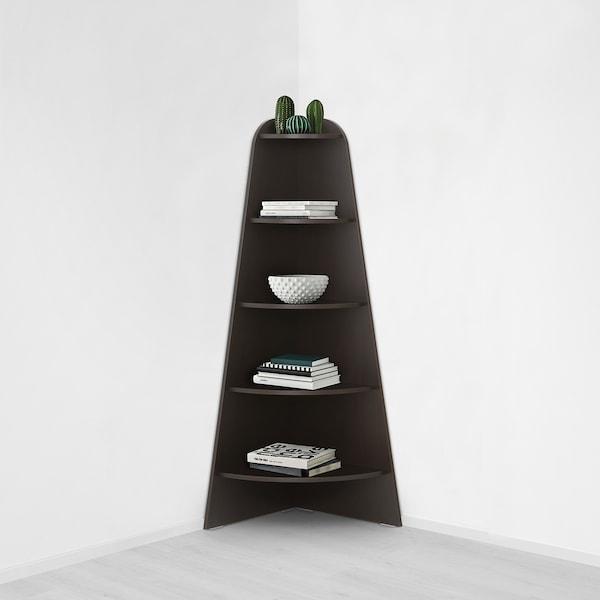 VARBY Corner shelf unit, black-brown, 53x155 cm