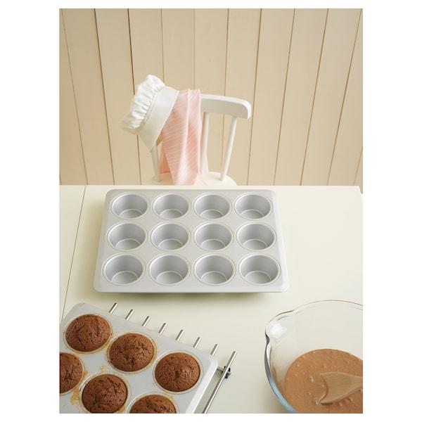 VARDAGEN Muffin tin, silver-colour, 38x29 cm