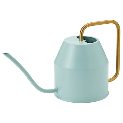 VATTENKRASSE Watering can, light turquoise/gold-colour, 0.9 l