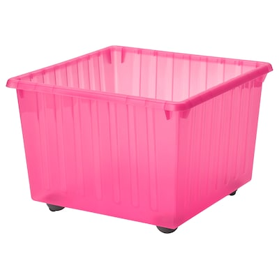 VESSLA Storage crate with castors, light pink, 39x39 cm