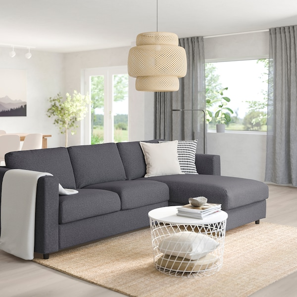 VIMLE 3-seat sofa, with chaise longue/Gunnared medium grey