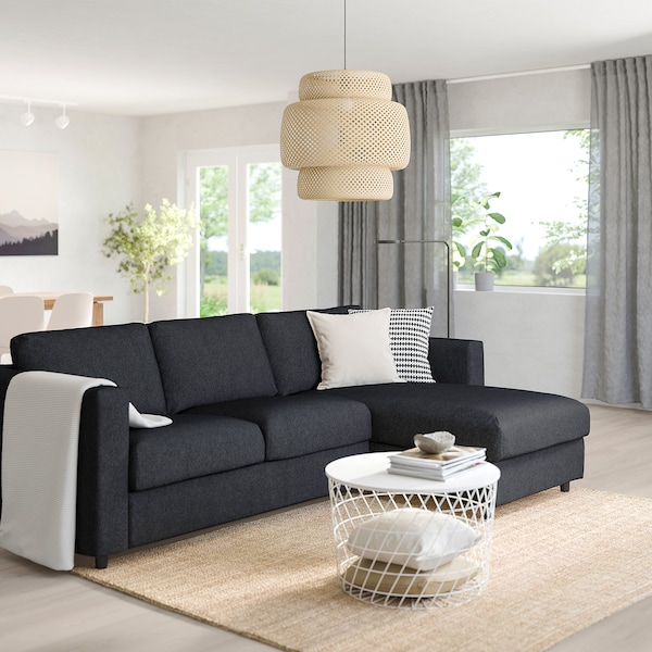 VIMLE 3-seat sofa, with chaise longue/Tallmyra black/grey