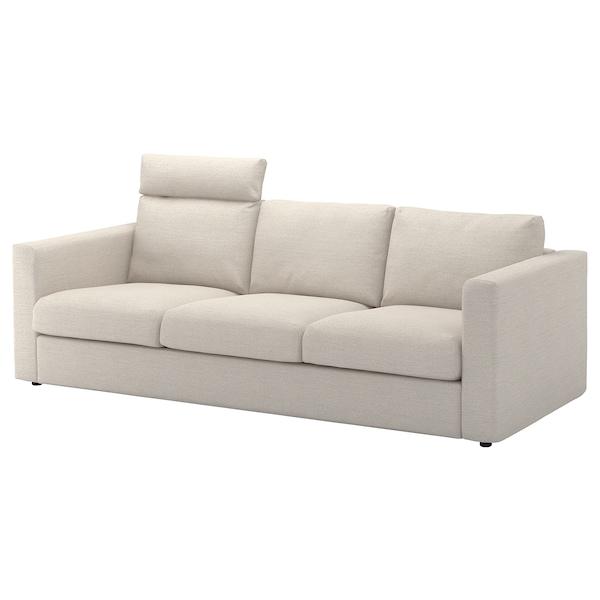 VIMLE 3-seat sofa, with headrest/Gunnared beige
