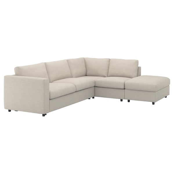 VIMLE Cover for corner sofa-bed, 4-seat, with open end/Gunnared beige