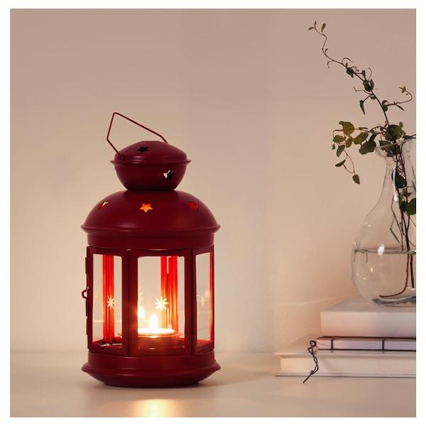 VINTERFEST Lantern for tealight, in/outdoor red, 21 cm