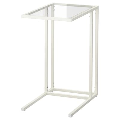 VITTSJÖ Laptop stand, white/glass, 35x65 cm