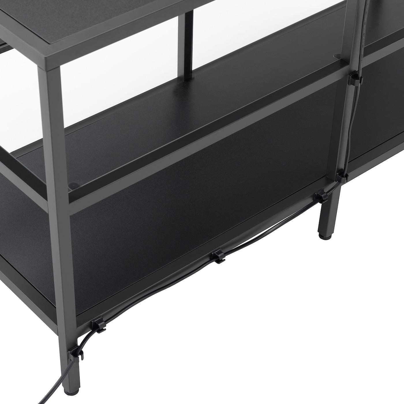 Consolle In Vetro Ikea.Vittsjo Tv Storage Combination Black Brown Glass 202x36x175 Cm Ikea