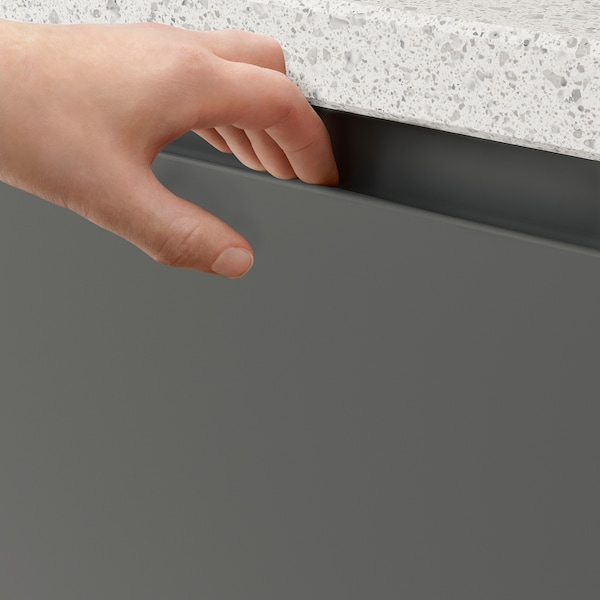 VOXTORP 2-p door f corner base cabinet set, left-hand dark grey, 25x80 cm