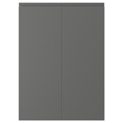 VOXTORP 2-p door f corner base cabinet set, right-hand dark grey, 25x70 cm