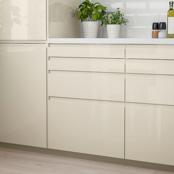 VOXTORP Drawer front, high-gloss light beige, 40x10 cm