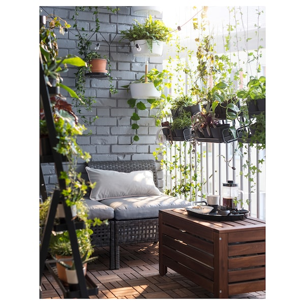 ÄPPLARÖ Panca con contenitore da giardino, mordente marrone, 80x41 cm