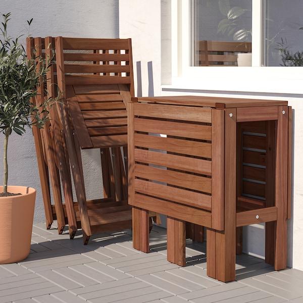 ÄPPLARÖ Tavolo/4 sedie pieghevoli, giardino, mordente ...