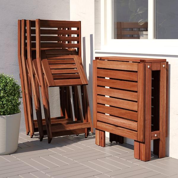 Ikea Sedie Pieghevoli Giardino.Applaro Tavolo 4 Sedie Pieghevoli Giardino Mordente Marrone
