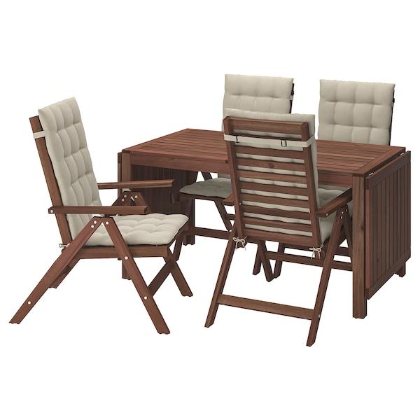 Tavoli Legno Da Giardino Ikea.Applaro Tavolo 4 Sedie Relax Da Giardino Mordente Marrone Hallo