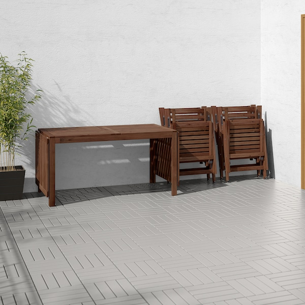 ÄPPLARÖ tavolo+4 sedie relax, da giardino mordente marrone