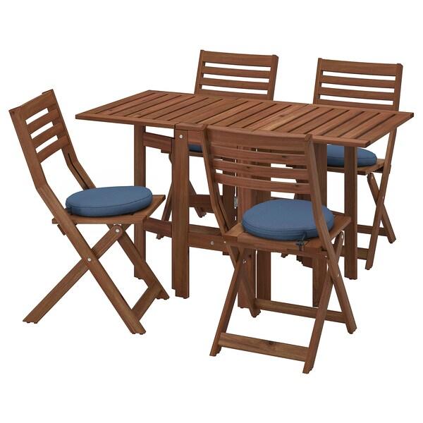 ÄPPLARÖ Tavolo/4 sedie pieghevoli, giardino, mordente marrone/Frösön/Duvholmen blu