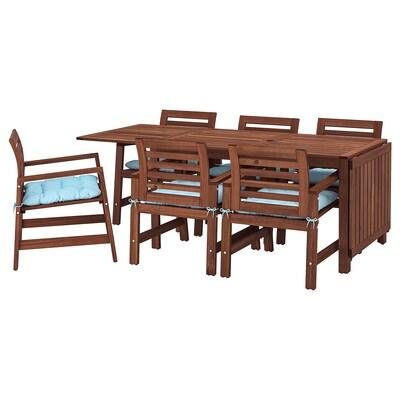 ÄPPLARÖ Tavolo+6 sedie braccioli, giardino, mordente marrone/Kuddarna azzurro
