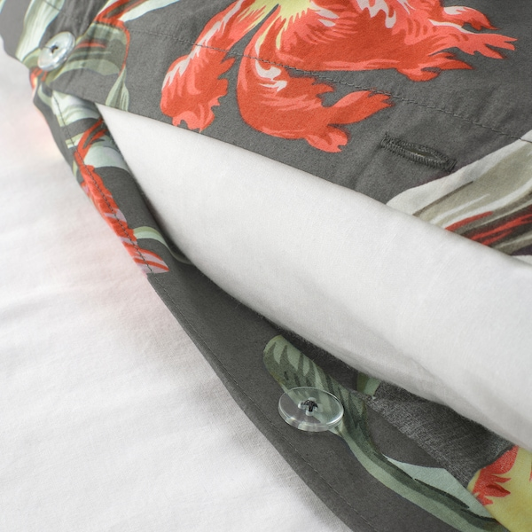ÅLANDSROT Copripiumino e 2 federe, grigio/motivo floreale, 240x220/50x80 cm