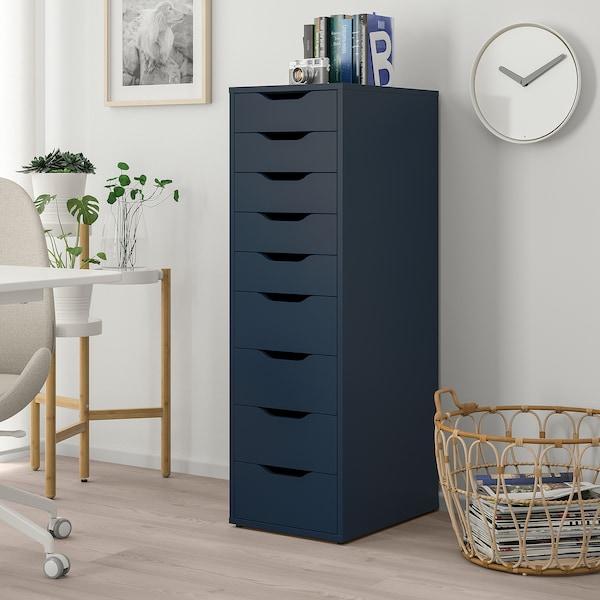 ALEX Cassettiera con 9 cassetti, blu, 36x116 cm