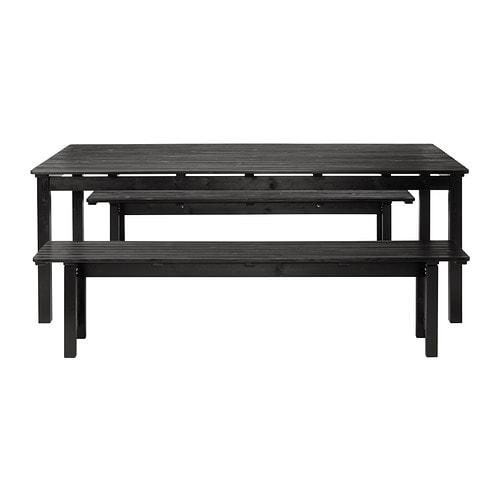 Ngs tavolo 2 panche da giardino mordente marrone nero ikea - Panchine da giardino ikea ...