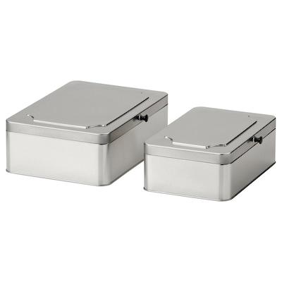 ANILINARE Set di 2 contenitori con coperchio, metallo