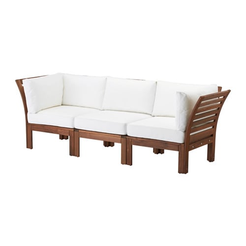 Pplar divano a 3 posti da esterno mordente marrone kungs bianco ikea - Divano bianco ikea ...