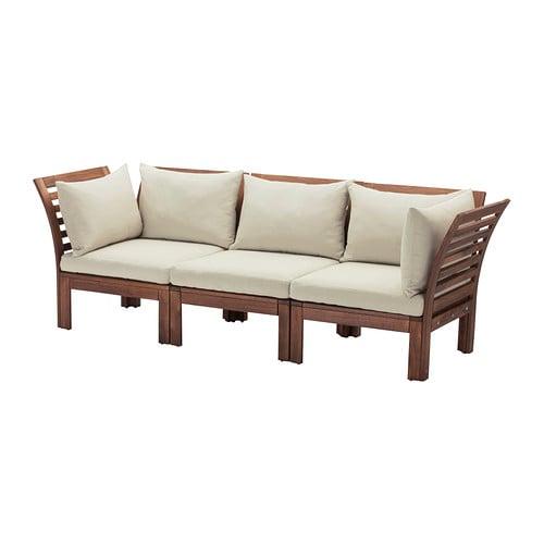 Pplar divano a 3 posti da esterno mordente marrone - Divanetti da esterno ikea ...