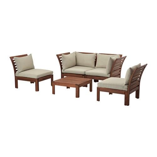 Pplar set a 4 posti da giardino mordente marrone h ll for Ikea mobili da giardino