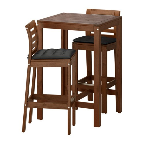 Pplar tavolo e 2 sgabelli bar pplar mordente marrone - Tavolo nero ikea ...