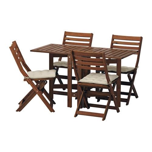 Pplar tavolo 4 sedie pieghevoli giardino pplar mordente marrone h ll beige ikea - Tavoli pieghevoli ikea ...