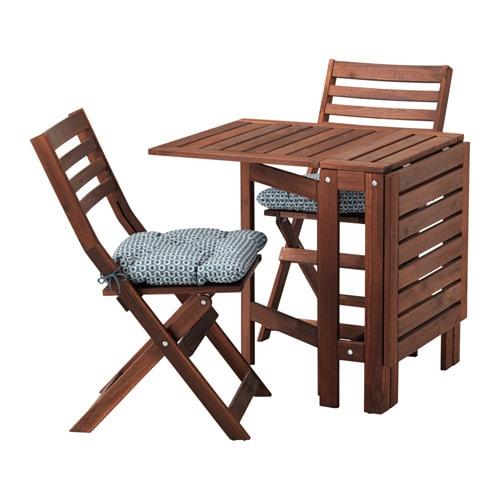 Pplar tavolo 2 sedie pieghevoli giardino pplar mordente marrone ytter n blu ikea - Set da giardino ikea ...