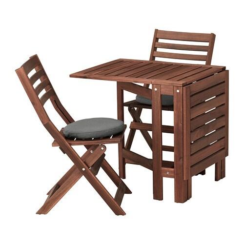 Pplar tavolo 2 sedie pieghevoli giardino pplar mordente marrone fr s n duvholmen grigio - Set da giardino ikea ...