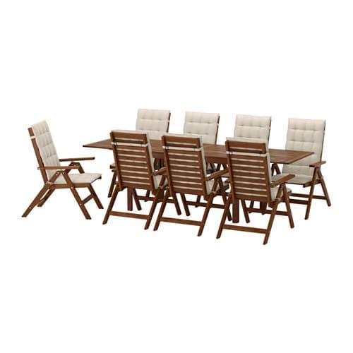 Tavoli Sedie Da Giardino Ikea.Applaro Tavolo 8 Sedie Relax Da Giardino Applaro Mordente Marrone