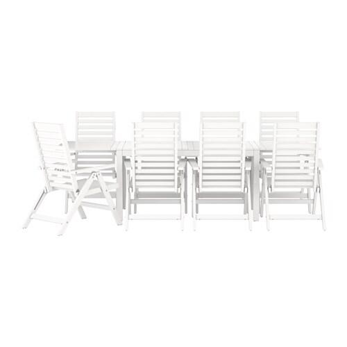 Pplar tavolo 8 sedie relax da giardino bianco ikea - Set da giardino ikea ...