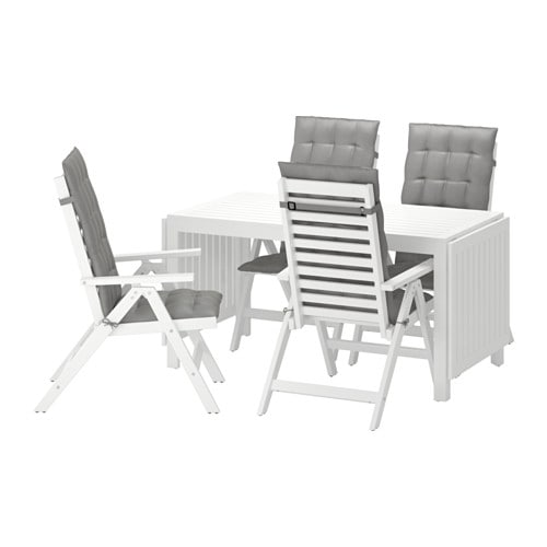 Pplar tavolo 4 sedie relax da giardino pplar bianco for Ikea sedie da giardino