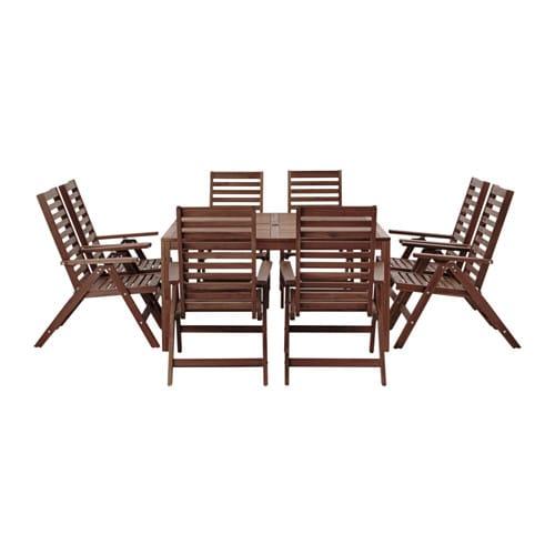 Pplar tavolo 8 sedie relax pplar da esterno mordente for Ikea sedie esterno
