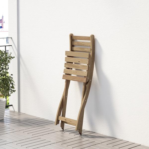 ASKHOLMEN Sedia da giardino, pieghevole mordente marrone chiaro