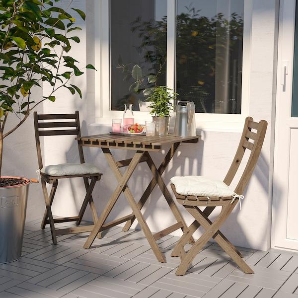 ASKHOLMEN Tavolo+2 sedie da giardino, mordente grigio tortora