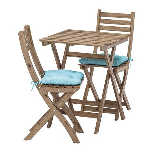 Sedie In Legno Da Giardino Ikea.Askholmen Tavolo 2 Sedie Da Giardino Askholmen Mordente Grigio