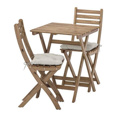 Catalogo Ikea Tavoli Da Giardino.Askholmen Tavolo 2 Sedie Da Giardino Askholmen Mordente Grigio
