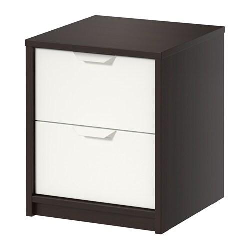 Askvoll cassettiera con 2 cassetti marrone nero bianco for Coprisedia bianco ikea