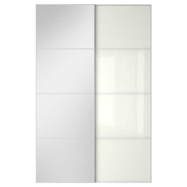 Ante Scorrevoli Vetro Ikea.Auli Farvik Coppia Di Ante Scorrevoli Vetro A Specchio Vetro Bianco Ikea It
