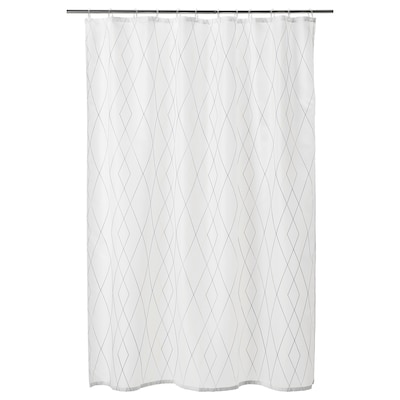 BASTSJÖN Tenda doccia, bianco giallo/lilla, 180x200 cm