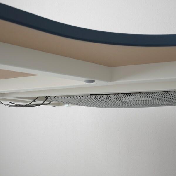 BEKANT Scrivania angolare sinistra, linoleum blu/bianco, 160x110 cm